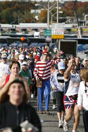 Where?s Waldo? spotted in the crowds of runners crossing the Verrazano-Narrows Bridge at the start of the 39th Annual ING New York City Marathon on November 2, 2008.  &#40;PRNewsFoto&#47;Entertainment Rights&#41; <span class=meta>(AP Photo&#47; GIANNI CIPRIANO)</span>