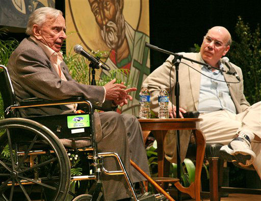 In this photo released by the Florida Keys News Bureau, author and essayist Gore Vidal, left, delivers the keynote presentation Saturday, Jan. 10, 2009, during the first session of the 27th annual Key West Literary Seminar in Key West, Fla. At right is Jay Parini, a poet and novelist who is Vidal&#39;s literary executor. Themed &#34;Historical Fiction and the Search for Truth,&#34; the seminar is attracting more than three dozen authors and historians to the island where Nobel prize-winning author Ernest Hemingway made his home in the 1930s. The first session concludes Sunday and the second is set for Jan. 15-18. &#40;AP Photo&#47;Florida Keys News Bureau, Carol Tedesco&#41; **NO SALES** <span class=meta>(AP Photo&#47; Carol Tedesco)</span>