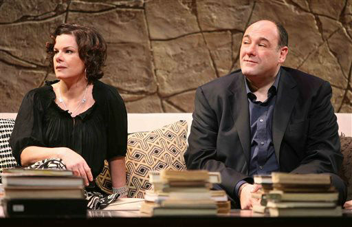 FILE - In this undated theater publicity image released by Boneau Bryan Brown, Marcia Gay Harden, left, and James Gandolfini are shown in a scene from, &#34;God of Carnage,&#34; in New York. HBO and the managers for Gandolfini say the actor died Wednesday, June 19, 2013, in Italy. He was 51. &#40;AP Photo&#47;Boneau Bryan Brown, Joan Marcus, file&#41; <span class=meta>(AP Photo&#47; Joan Marcus)</span>