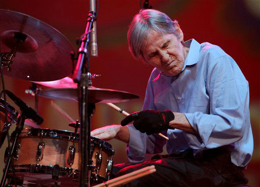 Levon Helm, The Band&#39;s commanding drummer and singer, whose solid beat and Arkansas twang helped define classics from the tragic &#34;The Night They Drove Old Dixie Down&#34; to the playful &#34;Up on Cripple Creek,&#34; died Thursday, April 19, 2012. He was 71.  Helm is shown here performing during the Heroes of Woodstock concert at Bethel Woods Center for the Arts in Bethel, N.Y. Saturday, Aug. 15, 2009, marking the 40th anniversary of the original 1969 Woodstock concert. &#40;AP Photo&#47;Craig Ruttle&#41; <span class=meta>(AP Photo&#47; Craig Ruttle)</span>