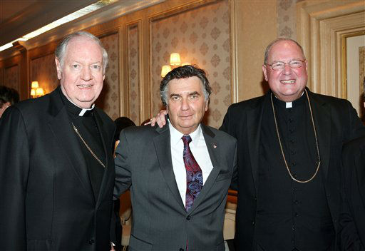 In this photo provided by New York Board Of Rabbis, Rabbi Joseph Potasnik center, Executive Vice President NYBR, Archbishop Timothy Dolan, right, and Edward Cardinal Egan, left, at an official welcome given to Timothy Dolan by the New York Board of Rabbis and farewell tribute to Edward Cardinal Egan at Park Ave. Synagogue in New York Thursday, Sept. 10, 2009.  &#40;AP Photo&#47;New York Board Of Rabbis, David Karp&#41;  ** NO SALES ** <span class=meta>(AP Photo&#47; DAVID KARP)</span>