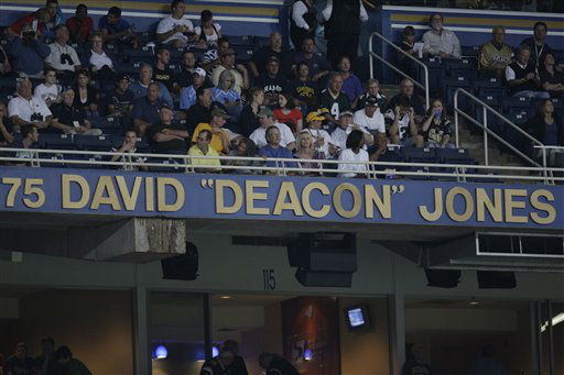 "<div class=""meta ""><span class=""caption-text "">Former Rams defensive end David ""Deacon"" Jones name is seen in the Rams' ring of honor after a ceremony to retire his number before the start of an NFL football game between the St. Louis Rams and Green Bay Packers Sunday, Sept. 27, 2009, in St. Louis. (AP Photo/Jeff Roberson) (AP Photo/ Jeff Roberson)</span></div>"
