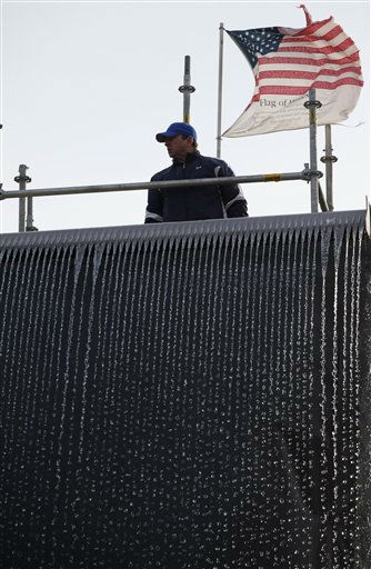 "<div class=""meta image-caption""><div class=""origin-logo origin-image ""><span></span></div><span class=""caption-text"">Ribbons of water flow off a mock-up waterfall designed for the National September 11 Memorial & Museum, Friday, Jan. 22, 2010 at the Brooklyn Navy Yard in New York. The 30-foot waterfall will cascade down the sides of the footprints of the destroyed World Trade Center towers, forming reflecting pools surrounded by the terrorist attack victims' names. (AP Photo/Mark Lennihan) (AP Photo/ Mark Lennihan)</span></div>"
