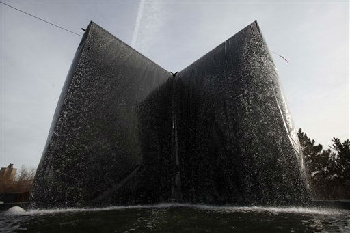 Ribbons of water flow off a mock-up waterfall designed for the National September 11 Memorial &amp; Museum, Friday, Jan. 22, 2010, at the Brooklyn Navy Yard in New York. The 30-foot waterfall will cascade down the sides of the footprints of the destroyed World Trade Center towers, forming reflecting pools surrounded by the terrorist attack victims&#39; names. &#40;AP Photo&#47;Mark Lennihan&#41; <span class=meta>(AP Photo&#47; Mark Lennihan)</span>
