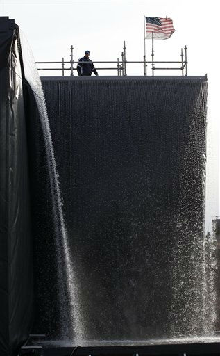 Ribbons of water flow off a mock-up waterfall designed for the National September 11 Memorial &amp; Museum, Friday, Jan. 22, 2010 at the Brooklyn Navy Yard in New York. The 30-foot waterfall will cascade down the sides of the footprints of the destroyed World Trade Center towers, forming reflecting pools surrounded by the terrorist attack victims&#39; names. &#40;AP Photo&#47;Mark Lennihan&#41; <span class=meta>(AP Photo&#47; Mark Lennihan)</span>
