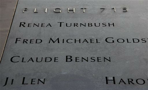 "<div class=""meta image-caption""><div class=""origin-logo origin-image ""><span></span></div><span class=""caption-text"">A bronze display, containing fictitious names and flight number, designed for the National September 11 Memorial & Museum, is shown at the Brooklyn Navy Yard Friday, Jan. 22, 2010 in New York. A 30-foot waterfall will cascade down the sides of the footprints of the destroyed World Trade Center towers, forming reflecting pools surrounded by the terrorist attack victims' names. (AP Photo/Mark Lennihan) (AP Photo/ Mark Lennihan)</span></div>"
