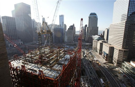 Work continues on One World Trade Center, Wednesday, Jan. 27, 2010 in New York. The tower, known as the Freedom Tower, will rise to a height of 1776 feet. &#40;AP Photo&#47;Mark Lennihan&#41; <span class=meta>(AP Photo&#47; Mark Lennihan)</span>