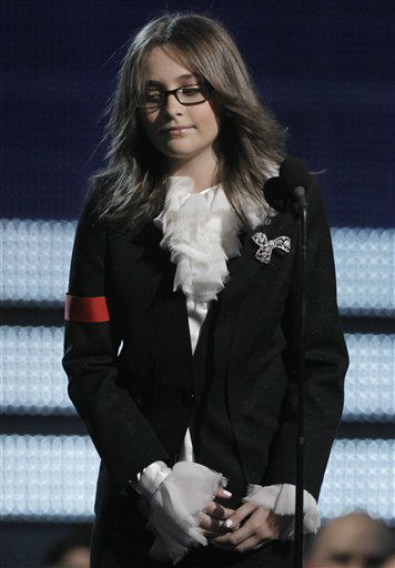 Michael Jackson&#39;s daughter Paris accepts the Lifetime Achievement award on behalf of her father at the Grammy Awards on Sunday, Jan. 31, 2010, in Los Angeles.  &#40;AP Photo&#47;Matt Sayles&#41; <span class=meta>(AP Photo&#47; Matt Sayles)</span>