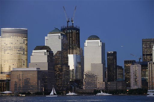 "<div class=""meta image-caption""><div class=""origin-logo origin-image ""><span></span></div><span class=""caption-text"">Construction cranes, top center, work on One World Trade Center, Thursday, June 2, 2011 in New York. September 11 will mark the tenth anniversary of the terrorist attacks lead by Osama bin Laden. The view is from New Jersey, looking across the Hudson River towards lower Manhattan and the World Trade Center. (AP Photo/Mark Lennihan) (AP Photo/ Mark Lennihan)</span></div>"