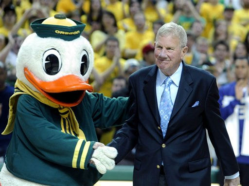 "<div class=""meta ""><span class=""caption-text "">File--In this March 4, 2010, file photo, former Oregon basketball coach Dick Harter, right, who coached Oregon from 1971-78, is honored as an honorary captain prior to an NCAA basketball game against Washington in Eugene, Ore.  Harter, who's Oregon team broke the John Wooden-led UCLA Bruins? 98-game home win streak, died Monday, March 12, 2012, a  spokesman for the Island Funeral Home in Hilton Head, S.C., said Tuesday. He was 81. (AP Photo/Greg Wahl-Stephens, File) (AP Photo/ Greg Wahl-Stephens)</span></div>"