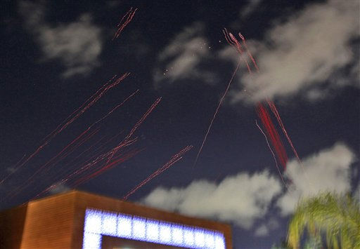 Tracers from anti aircraft fire guns are seen above the hotel where foreign media and government officials are staying  in Tripoli, Libya, as explosions rock the city  Monday, March 21, 2011.  &#40;AP Photo&#47;Jerome Delay&#41; <span class=meta>(AP Photo&#47; Jerome Delay)</span>