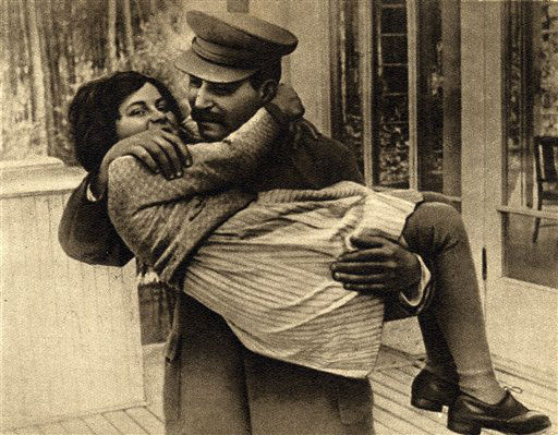 This undated photo provided by Icarus Films shows Josef Stalin with his daughter Svetlana Alliluyeva.  Her defection to the West in 1967 set off an international furor and made her a best-selling author.  She changed her name to Lana Peters after her defection.   Peters died on Nov. 22 of colon cancer.  She was 85.  <span class=meta>(AP Photo&#47; Anonymous)</span>