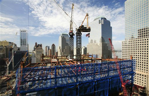 "<div class=""meta image-caption""><div class=""origin-logo origin-image ""><span></span></div><span class=""caption-text"">Construction cranes work on the rising structure of One World Trade Center, Thursday, April 15, 2010, in New York. When finished, the tower will rise to a height of 1,776 feet (541 meters). (AP Photo/Mark Lennihan) (AP Photo/ Mark Lennihan)</span></div>"