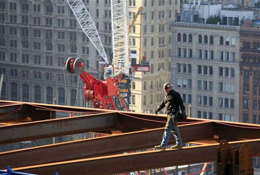 An ironworker walks a steel beam at One World Trade Center, Thursday, April 15, 2010, in New York. When finished, the tower will rise to a height of 1,776 feet &#40;541 meters&#41;. &#40;AP Photo&#47;Mark Lennihan&#41; <span class=meta>(AP Photo&#47; Mark Lennihan)</span>