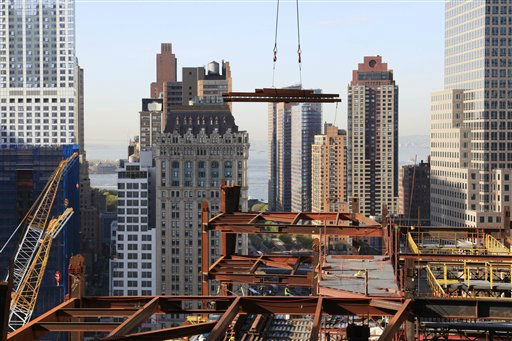 Pieces of steel are hoisted by crane to the rising structure of One World Trade Center, Thursday, April 15, 2010, in New York. When finished, the tower will rise to a height of 1,776 feet &#40;541 meters&#41;. &#40;AP Photo&#47;Mark Lennihan&#41; <span class=meta>(AP Photo&#47; Mark Lennihan)</span>