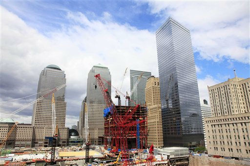 "<div class=""meta ""><span class=""caption-text "">Construction continues on One World Trade Center, center, Wednesday, April 28, 2010 in New York. (AP Photo/Mark Lennihan) (AP Photo/ Mark Lennihan)</span></div>"