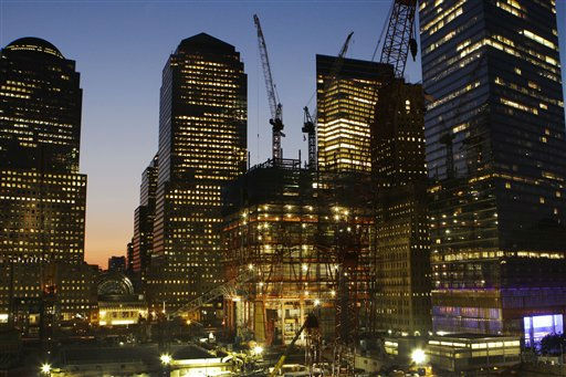 Construction continues on One World Trade Center, center, June 18, 2010 in New York. The skyscraper is also known as the Freedom Tower. &#40;AP Photo&#47;Mark Lennihan&#41; <span class=meta>(AP Photo&#47; Mark Lennihan)</span>