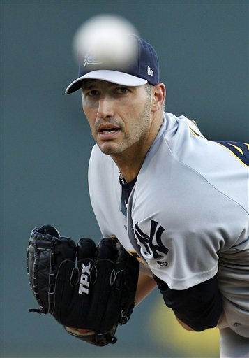 "<div class=""meta ""><span class=""caption-text "">New York Yankee  pitcher Andy Pettitte, warms up before the first inning of a minor league baseball rehab assignment with the Trenton Thunder  in Altoona, Pa,  Tuesday, Sept. 14, 2010. (AP Photo/Gene J. Puskar) (AP Photo/ Gene J. Puskar)</span></div>"
