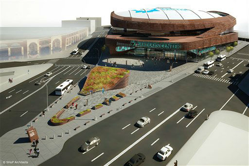 This artist rendering provided by SHoP Architects, PC, in New York, Tuesday Sept. 28, 2010, shows the design for a temporary plaza in front of the Brooklyn, N.Y., venue of a new arena for the NBA&#39;s New Jersey Nets. The long-delayed 18,000-seat arena, called Barclays Center, is scheduled to open in 2012. &#40;AP Photo&#47;SHoP Architects, PC&#41; <span class=meta>(AP Photo&#47; Anonymous)</span>