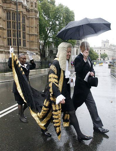 A judge makes her way to the Houses of Parliament in central London, Friday, Oct. 1, 2010, after attending the annual service at Westminster Abbey to mark the beginning of the legal year in England and Wales. &#40;AP Photo&#47;Akira Suemori&#41; <span class=meta>(AP Photo&#47; Akira Suemori)</span>