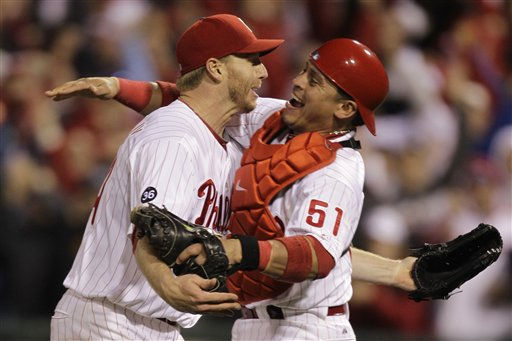 Philadelphia Phillies starting pitcher Roy Halladay, left, celebrates with catcher Carlos Ruiz &#40;51&#41; after throwing a no-hitter to defeat the Cincinnati Reds 4-0 during Game 1 of baseball&#39;s National League Division Series, Wednesday, Oct. 6, 2010, in Philadelphia. &#40;AP Photo&#47;Rob Carr&#41; <span class=meta>(AP Photo&#47; Rob Carr)</span>