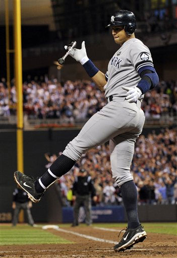 New York Yankees&#39; Alex Rodriguez reacts after striking out during the third inning of Game 1 of baseball&#39;s American League Division Series against the Minnesota Twins on Wednesday, Oct. 6, 2010, in Minneapolis. &#40;AP Photo&#47;Jim Mone&#41; <span class=meta>(AP Photo&#47; Jim Mone)</span>