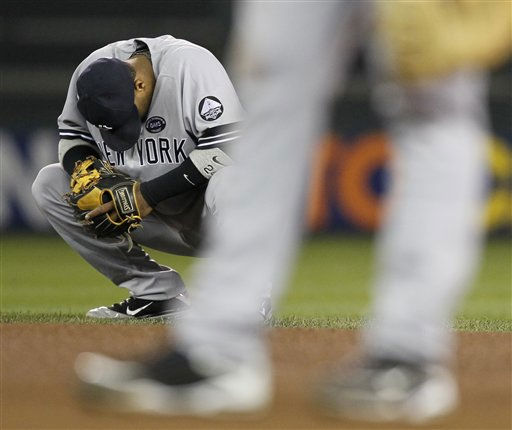 New York Yankees second baseman Robinson Cano waits for the bottom of the fourth inning of Game 1 of baseball&#39;s American League Division Series against the Minnesota Twins on Wednesday, Oct. 6, 2010, in Minneapolis. &#40;AP Photo&#47;Charlie Neibergall&#41; <span class=meta>(AP Photo&#47; Charlie Neibergall)</span>
