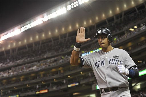New York Yankees&#39; Alex Rodriguez reacts after scoring during the sixth inning of Game 1 of the American League Division baseball series against the Minnesota Twins Wednesday, Oct. 6, 2010, in Minneapolis. &#40;AP Photo&#47;Jim Mone&#41; <span class=meta>(AP Photo&#47; Jim Mone)</span>