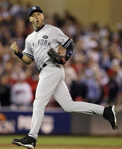 New York Yankees shortstop Derek Jeter reacts after throwing out Minnesota Twins&#39; Denard Span to end the eighth inning of Game 1 of baseball&#39;s American League Division Series on Wednesday, Oct. 6, 2010, in Minneapolis. &#40;AP Photo&#47;Charlie Neibergall&#41; <span class=meta>(AP Photo&#47; Charlie Neibergall)</span>