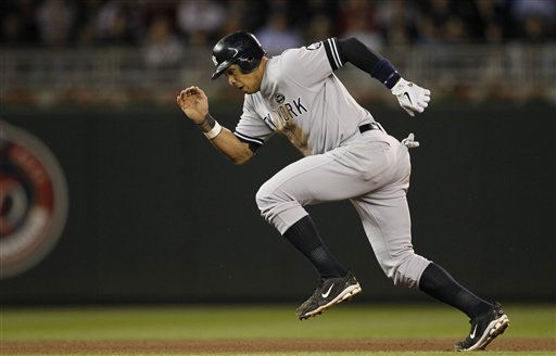 New York Yankees&#39; Alex Rodriguez runs to third during the seventh inning of Game 1 of the American League Division baseball series against the Minnesota Twins Wednesday, Oct. 6, 2010, in Minneapolis. &#40;AP Photo&#47;Charlie Neibergall&#41; <span class=meta>(AP Photo&#47; Charlie Neibergall)</span>