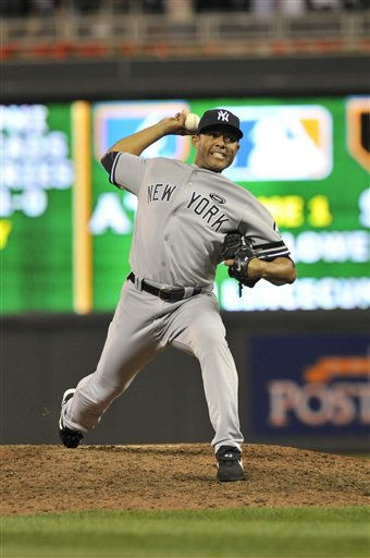 New York Yankees relief pitcher Mariano Rivera throws during the ninth inning of Game 1 of the American League Division baseball series against the Minnesota Twins Wednesday, Oct. 6, 2010, in Minneapolis. &#40;AP Photo&#47;Jim Mone&#41; <span class=meta>(AP Photo&#47; Jim Mone)</span>