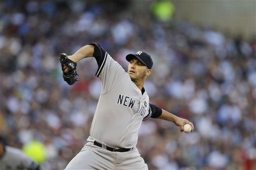"<div class=""meta image-caption""><div class=""origin-logo origin-image ""><span></span></div><span class=""caption-text"">New York Yankees starting pitcher Andy Pettitte throws during the first inning of Game 2 of baseball's American League Division series against the Minnesota Twins Thursday, Oct. 7, 2010, in Minneapolis. (AP Photo/Charlie Neibergall) (AP Photo/ Charlie Neibergall)</span></div>"