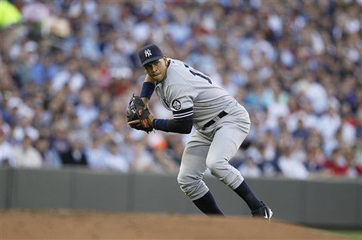 "<div class=""meta image-caption""><div class=""origin-logo origin-image ""><span></span></div><span class=""caption-text"">New York Yankees third baseman Alex Rodriguez makes a play during the first inning of Game 2 of baseball's American League Division series against the Minnesota Twins Thursday, Oct. 7, 2010, in Minneapolis. (AP Photo/Charlie Neibergall) (AP Photo/ Charlie Neibergall)</span></div>"