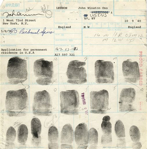"<div class=""meta ""><span class=""caption-text "">This undated photo provided by Gotta Have It!, in New York, Friday, Oct. 8, 2010, shows the fingerprint card of John Lennon, dated May 8, 1976. At the time, Lennon was applying for citizenship. The FBI has seized the set of Lennon's fingerprints from a Manhattan memorabilia shop and is investigating how the item ""came to be up for auction."" (AP Photo/Gottahaverockandroll.com) NO SALES (AP Photo/ Anonymous)</span></div>"