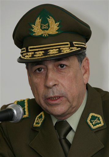 "<div class=""meta ""><span class=""caption-text "">Chile's Police Gen. Gerardo Gonzalez attends a press conference on the sidelines of an American Police Community (Ameripol) meeting in Mexico City, Friday Oct. 8, 2010. (AP Photo/Marco Ugarte) (AP Photo/ Marco Ugarte)</span></div>"