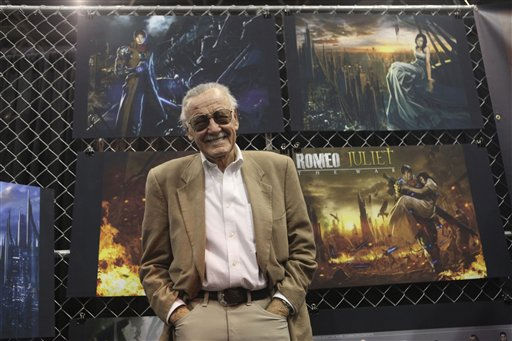 Stan Lee poses for photographers during the unveiling of &#34;Romeo and Juliet:The War&#34; during the New York Comic Con at the Jacob Javitz convention center, Friday, Oct. 8, 2010 in New York.  &#40;AP Photo&#47;Mary Altaffer&#41; <span class=meta>(AP Photo&#47; Mary Altaffer)</span>