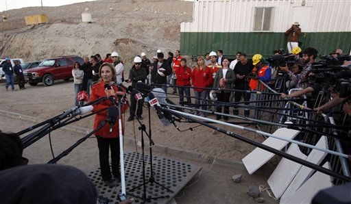 "<div class=""meta ""><span class=""caption-text "">Chile's First Lady Cecilia Morel de Pineira talks to the press after meeting with the relatives of trapped miners at the San Jose mine near Copiapo, Chile, Friday Oct. 8, 2010. Thirty-three miners have been trapped deep underground in the copper and gold mine since it collapsed on Aug. 5. (AP Photo/Natacha Pisarenko) (AP Photo/ Natacha Pisarenko)</span></div>"