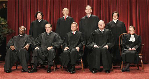 "<div class=""meta ""><span class=""caption-text "">FILE - This Oct. 8, 2010 file photo shows the justices of the U.S. Supreme Court at the Supreme Court in Washington. Seated from left are Associate Justices Clarence Thomas, and Antonin Scalia, Chief Justice John Roberts, Associate Justices Anthony M. Kennedy and Ruth Bader Ginsburg. Standing, from left are Associate Justices Sonia Sotomayor, Stephen Breyer, Samuel Alito Jr., and Elena Kagan.  The Supreme Court on Thursday, June 28, 2012, upheld the individual insurance requirement at the heart of President Barack Obama's historic health care overhaul. (AP Photo/Pablo Martinez Monsivais, File) (AP Photo/ Pablo Martinez Monsivais)</span></div>"