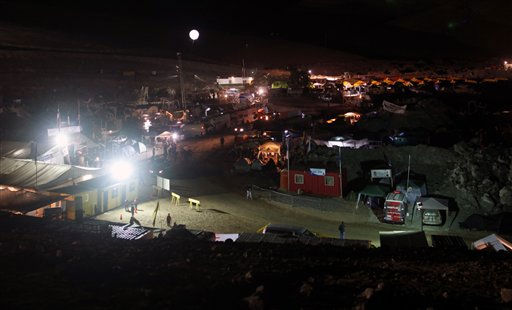 An illuminated balloon hovers over the camp were relatives of a trapped miners wait for news of the rescue effort near the San Jose mine in Copiapo, Chile, Friday Oct. 8, 2010. Drillers neared the lower reaches of a gold and copper mine where 33 men have been trapped for more than two months, preparing Friday for a breakthrough. The mine collapsed on Aug. 5. &#40;AP Photo&#47;Natacha Pisarenko&#41; <span class=meta>(AP Photo&#47; Natacha Pisarenko)</span>