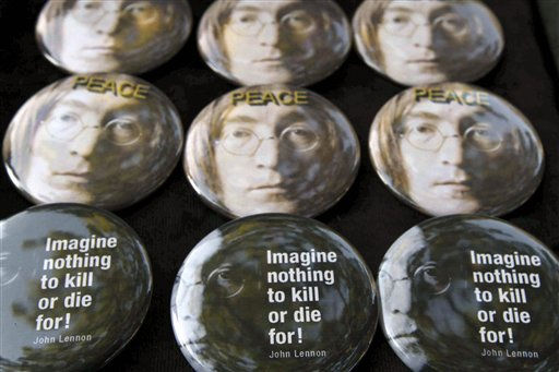 John Lennon-related buttons are seen on sale in Strawberry Fields in New York&#39;s Central Park on Saturday, Oct. 9, 2010, the day that would have been John Lennon&#39;s 70th birthday. &#40;AP Photo&#47;Tina Fineberg&#41; <span class=meta>(AP Photo&#47; Tina Fineberg)</span>