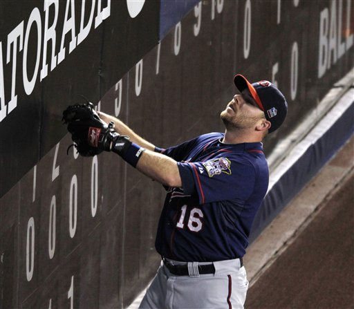 "<div class=""meta image-caption""><div class=""origin-logo origin-image ""><span></span></div><span class=""caption-text"">Minnesota Twins right fielder Jason Kubel watches a home run by New York Yankees  Marcus Thames land in the stands in the fourth inning Game 3 of the American League Division Series baseball game at Yankee Stadium on Saturday, Oct. 9, 2010 in New York.  (AP Photo/Peter Morgan) (AP Photo/ Peter Morgan)</span></div>"