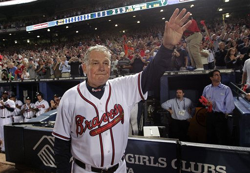 Atlanta Braves manager Bobby Cox waves to fans after a 3-2 loss to the San Francisco Giants in Game 4 of baseball&#39;s National League Division Series on Monday, Oct. 11, 2010, in Atlanta.  After a half-century in baseball, most of it in uniform, Cox must move out of the dugout.  &#40;AP Photo&#47;Dave Martin&#41; <span class=meta>(AP Photo&#47; Dave Martin)</span>