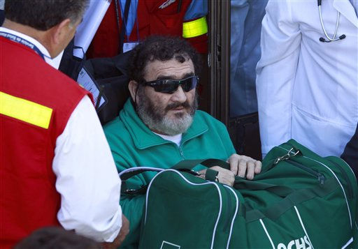 Rescued miner Jorge Galleguillos, 55, arrives to the hospital of Copiapo, Chile, Wednesday, Oct. 13, 2010. Galleguillos was the eleventh of 33 miners who was rescued from the San Jose mine after more than 2 months trapped underground. &#40;AP Photo&#47;Dario Lopez-Mills&#41; <span class=meta>(AP Photo&#47; Dario Lopez-Mills)</span>