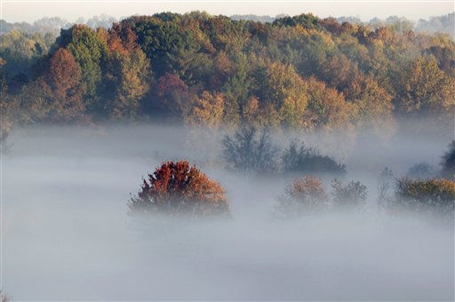 "<div class=""meta ""><span class=""caption-text "">The top of a tree rises above the fog in a valley in Jasper, Ind., Thursday, Oct. 14, 2010. (AP Photo/Michael Conroy) (AP Photo/ Michael Conroy)</span></div>"