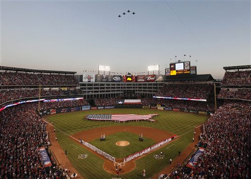 F-16s from the 301st Fight Squadron fly over the ball park before Game 1 of baseball&#39;s American League Championship Series Friday, Oct. 15, 2010, in Arlington, Texas. &#40;AP Photo&#47;Paul Sancya&#41; <span class=meta>(AP Photo&#47; Paul Sancya)</span>