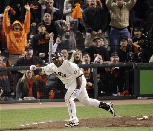 San Francisco Giants&#39; Pablo Sandoval reacts after hitting a two-run scoring double during the sixth inning of Game 4 of baseball&#39;s National League Championship Series against the Philadelphia Phillies Wednesday, Oct. 20, 2010, in San Francisco. <span class=meta>( &#40;AP Photo&#47;Marcio Jose Sanchez&#41;)</span>