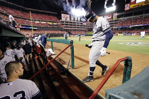 New York Yankees&#39; Alex Rodriguez walks to the dugout after striking out to end Game 6 of baseball&#39;s American League Championship Series and give the Texas Rangers a 6-1 win and a trip to the World Series. Friday, Oct. 22, 2010, in Arlington, Texas. &#40;AP Photo&#47;Tony Gutierrez&#41; <span class=meta>(AP Photo&#47; Tony Gutierrez)</span>
