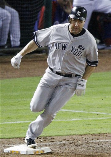 New York Yankees first baseman Lance Berkman rounds first base against the Texas Rangers during Game 6 of baseball&#39;s American League Championship Series Friday, Oct. 22, 2010, in Arlington, Texas. &#40;AP Photo&#47;Mark Humphrey&#41; <span class=meta>(AP Photo&#47; Mark Humphrey)</span>