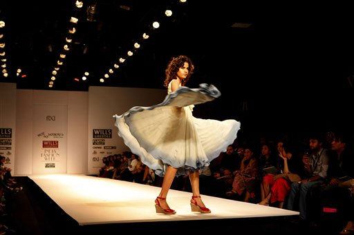 A model displays a creation by Pallavi Joshi during the Wills Lifestyle India Fashion Week in New Delhi, India, Saturday, Oct. 23, 2010. &#40;AP Photo&#47;Manish Swarup&#41; <span class=meta>(AP Photo&#47; Manish Swarup)</span>