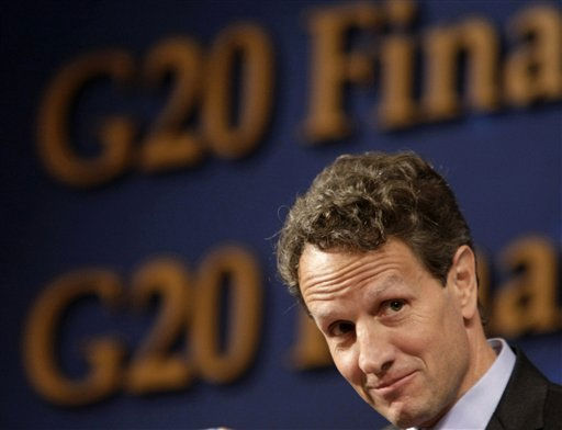 U.S. Treasury Secretary Timothy Geithner listens to questions at a press conference during the G20 Finance Ministers and Central Bank Governors meeting at a hotel in Gyeongju, South Korea, Saturday, Oct. 23, 2010. &#40;AP Photo&#47;Ahn Young-joon&#41; <span class=meta>(AP Photo&#47; Ahn Young-joon)</span>